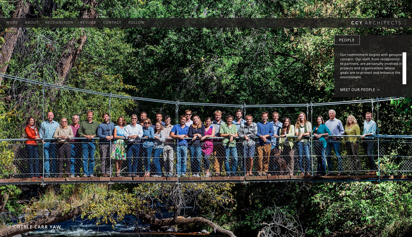 CCY architects and staff members, Swinging Bridge, group shot